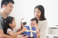 Asian Family and present box