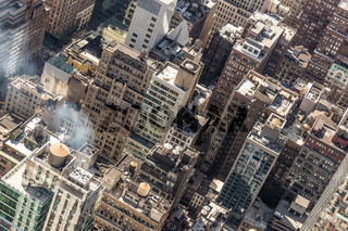 New York City, Midtown Manhattan building rooftops. USA.