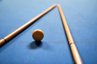 Billiard ball in a blue pool table