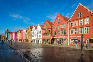 Colorful houses in the historic Bryggen in Bergen