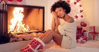 Gorgeous stylish young woman celebrating Christmas