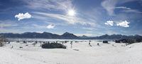 Panorama Winterlandschaft im Allgäu in Bayern bei Füssen mit Forggensee