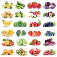 Obst und Gemüse Früchte Apfel Erdbeeren Zitrone Tomaten Farben Kiwi Collage Freisteller freigestellt isoliert