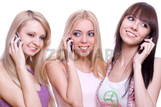 three girls with phone