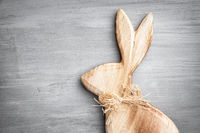 Traditional Easter holiday bunny on a rustic background