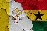 flag of Vatican and Ghana painted on cracked wall