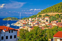 Idyllic coastal town of Vis waterfront view