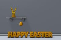 hasenfigur auf regal und happy easter text - 3d rendering