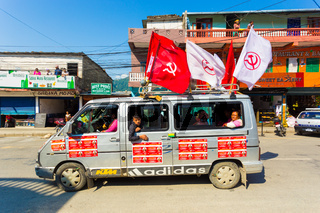 Nepal 2017 Elections Maoist Party Van Flags