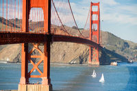 Two Sailboats Golden Gate Bridge San Francisco Bay California