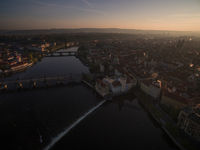 Prague panorama with Vltava river, aerial view