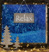 Window, Winter Forest, Text Relax