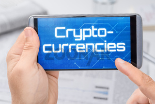Smartphone with the text Cryptocurrencies on the display