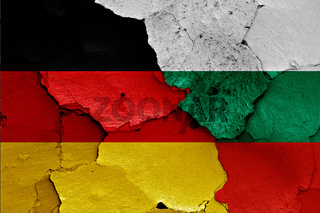 flags of Germany and Bulgaria  painted on cracked wall