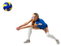 Young woman volleyball player isolated (with ball version)