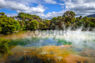 Hot springs lake in Rotorua, New Zealand