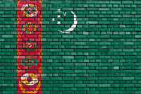 flag of Turkmenistan painted on brick wall