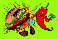 pepper beats Burger, vegetarianism vs fast food
