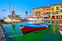 Lazise turquoise harbor and Lago di Garda view