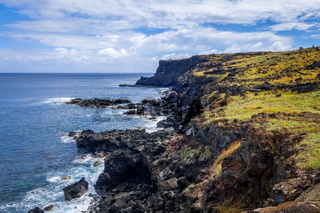 Easter island cliffs and pacific ocean landscape