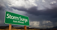 Storm Surge Just Ahead Green Road Sign and Stormy Clouds