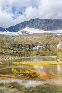 Mountain lake in a high altitude landscape