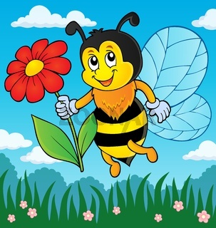 Happy bee holding flower theme 3
