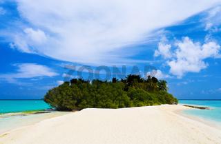 Tropical island and sand bank