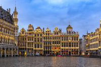 Brussels night city skyline at Grand Place, Brussels, Belgium