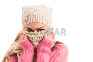 Happy young woman wearing knitted fashionable clothing