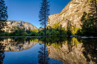 Summer landscape of Mirror Lake in Yosemite