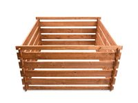 Empty wooden composter on a white background