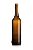 Empty tall wine bottle of dark glass