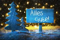 Blue Christmas Tree, Alles Gute Means Best Wishes, Snowflakes