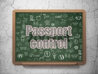Tourism concept: Passport Control on School board background