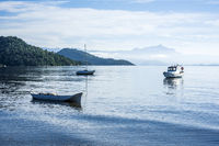Early morning in the bay of portuguese colonial town of Paraty in Rio de Janeiro state, Brazil