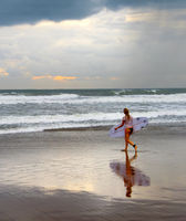 Woman going to surfing