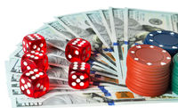 Casino Dice gaming and gambling chips concept