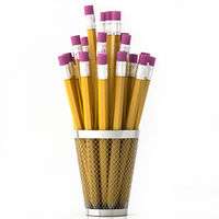 orange pencils in basket isolated on white background