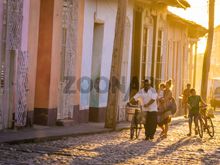 Trinidad, CUBA - Caribbean street at sunset