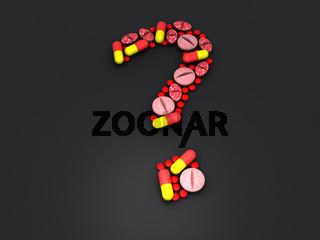 Fragezeichen aus Tabletten und Kapseln