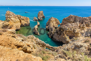 Coast with rocks and blue sea in Portugal