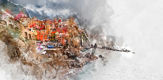 Digital watercolor painting of Manarola. Italy