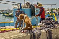 FFishermen With Their Dog, Marsaxlokk Village, Malta