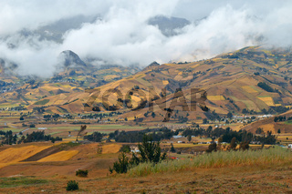 Clouds on the fields of Zumbahua in Ecuadorian Altiplano. Highland Andes near Quilotoa lagoon, South America