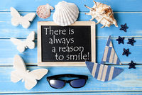 Blackboard With Maritime Decoration And Quote Always Reason To Smile