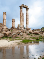 Temple of Hercules at Amman Citadel in rain