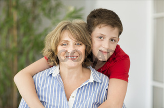 Mid-age woman with teen boy