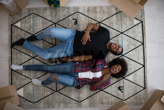Top view of attractive young African American couple