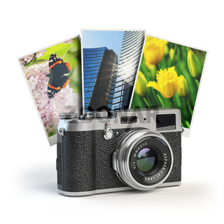 Photo camera and images isolated on white.